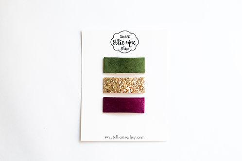 Pine Velvet, Gold Glitter, Magenta Velvet | Snap Clips