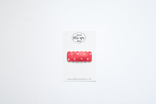 Red Hearts   Scalloped Snap Clips