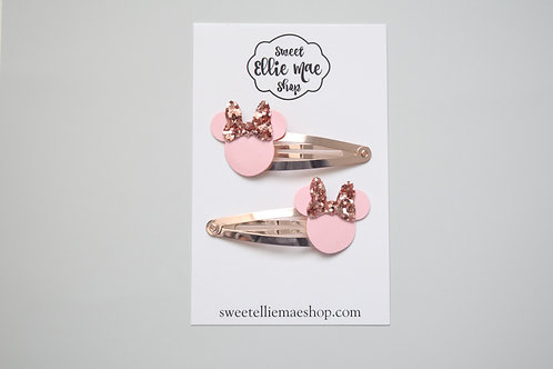 Pink Patent & Rose Gold  | Mini Mouse Snap Clips