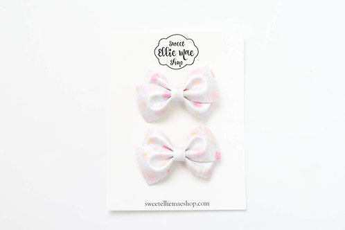 Watercolor Shimmer Floral | Mini Lou Bow