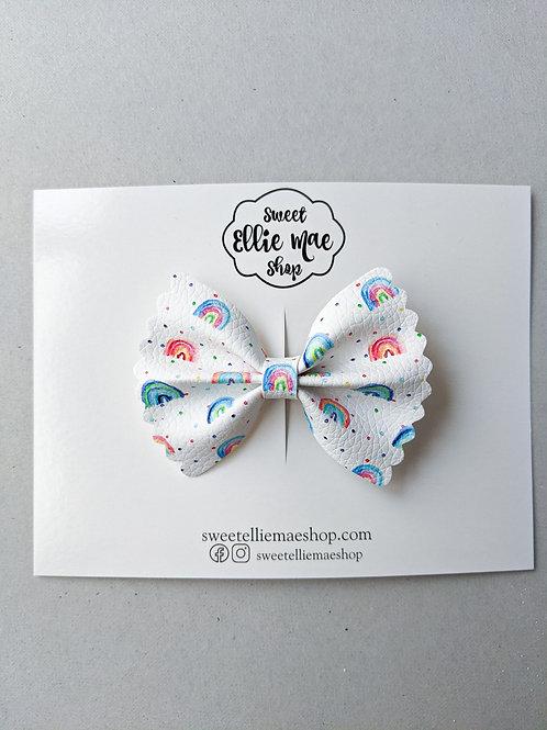 Bright Rainbows  | Mini Scalloped Ellie Bow