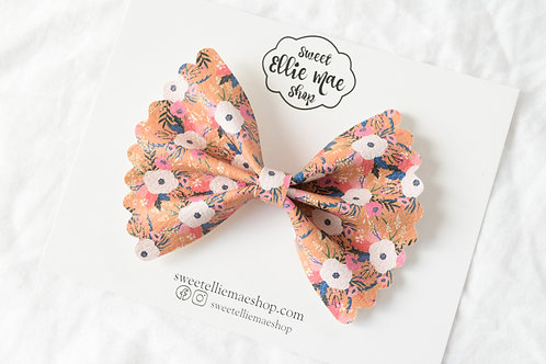 Fall Painted Floral |  Scalloped Ellie Bow
