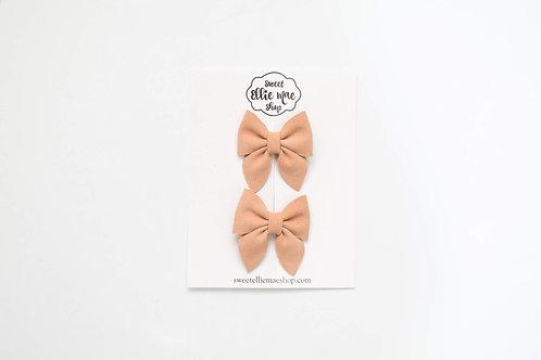 Sepia Shimmer Suede | Mini Sailor Bows