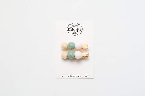 Sea Foam | Felt Ball Bar Clip