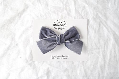 Grey   Hand-tied Velvet Bow