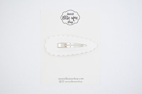 White | XL Scalloped Snap Clip