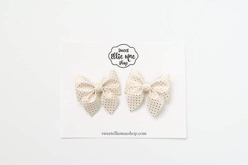 Ivory Gold Polka Dot | Mini Sailor Bows
