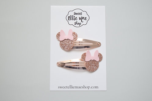 Pale Rose Gold Glitter & Pink Patent   Mini Mouse Snap Clips
