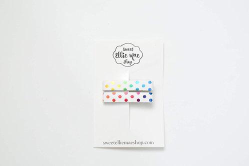 Rainbow Polka Dots   Bar Clips