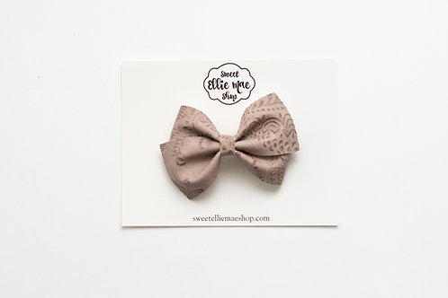 Taupe Embossed | Thick Lou Bow