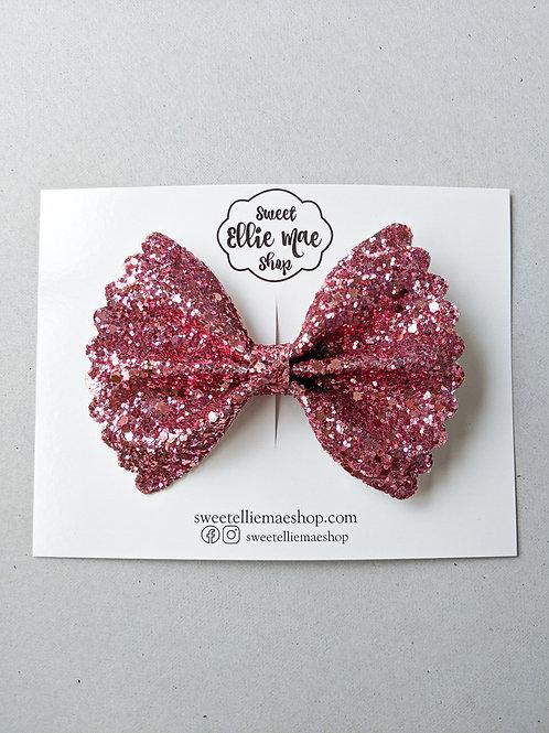 Raspberry |  Scalloped Ellie Bow