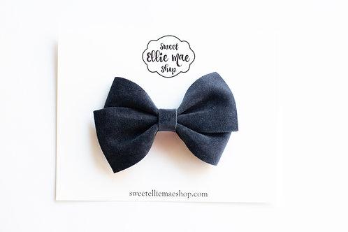 Midnight Navy Velvet   Thick, Mini or Little Lou Bows