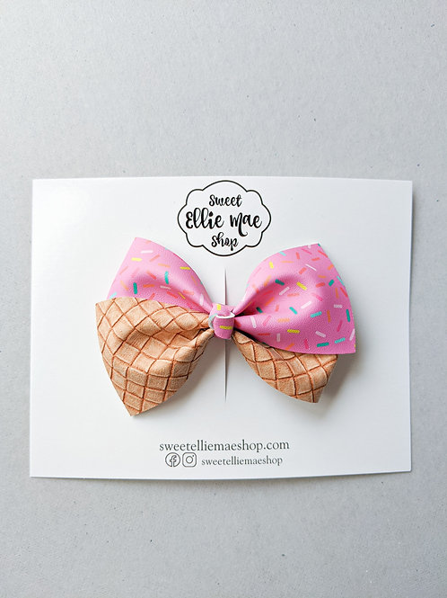 Pink Ice Cream Cone   Thick Lou Bow