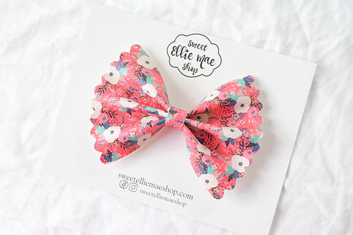 Pink Painted Floral |  Scalloped Ellie Bow