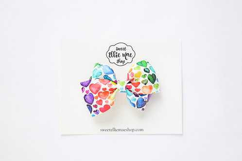 Watercolor Rainbow Hearts | Thick Lou Bow