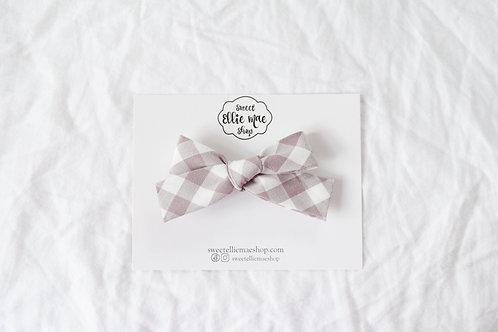 Mauve Gingham  | Hand-tied Gracie Bow