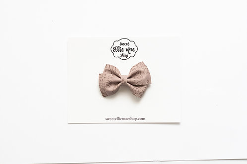 Taupe Embossed | Mini Lou Bow
