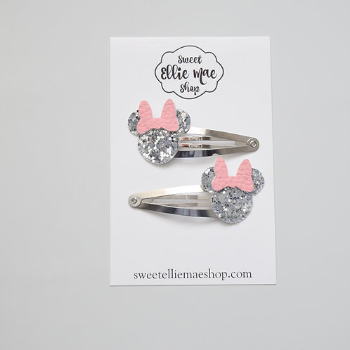 Silver Glitter & Pink   Mini Mouse Snap Clips