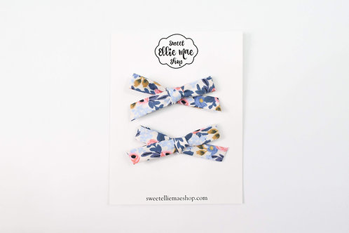 Blue Floral | Hand-tied Emma Bows