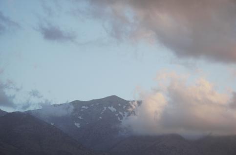 Der Blick von unserem Feld, die Weiße Berge