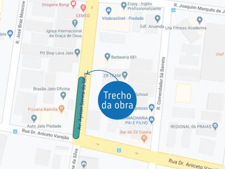 Trecho de avenida em Piedade terá obras de saneamento realizadas à noite