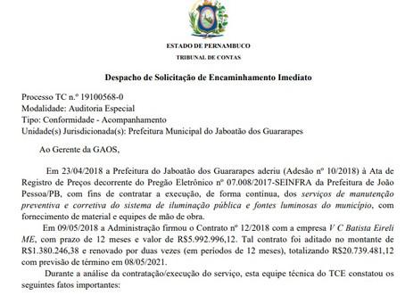 Excesso de R$ 5 mi na iluminação de Jaboatão, segundo o TCE