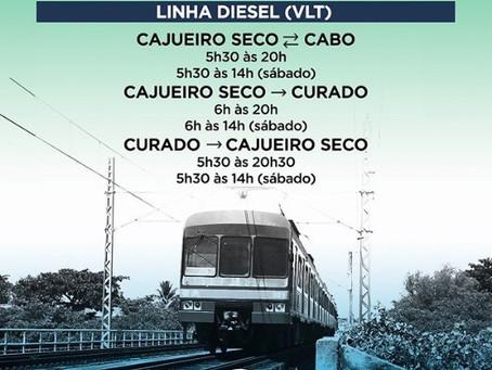 Ramal Curado/Cajueiro Seco da Linha Diesel do Metrô retomará sua operação