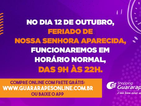 Shopping Guararapes funcionará normalmente no dia 12 de outubro