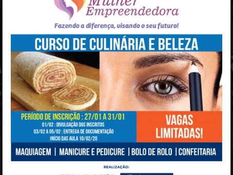 Continuam inscrições para participar do curso de culinária e beleza em Jaboatão