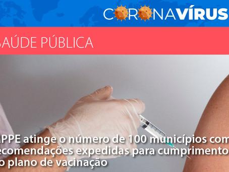 MPPE atinge o número de 100 municípios com recomendações para cumprimento do plano de vacinação