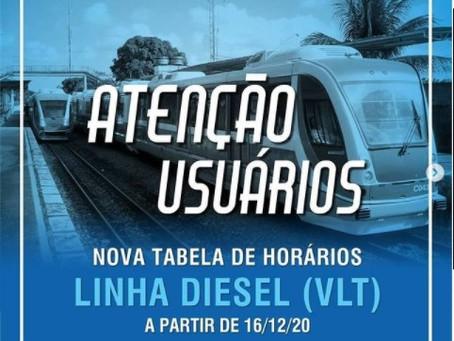 CBTU informa novos horários de saída dos VLTs