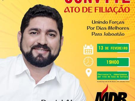 Pré-candidato a prefeito, Daniel Alves se filia ao MDB