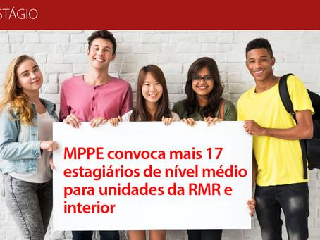 MPPE convoca mais 17 estagiários de nível médio para unidades da RMR e interior