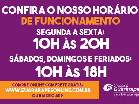 Horário de funcionamento do Guararapes a partir de 14 de junho