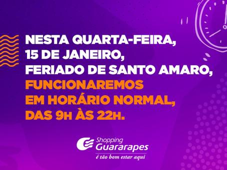 Confira o funcionamento do Guararapes no dia 15 de janeiro