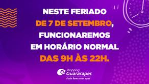 7 de setembro: Shopping Guararapes funcionará das 9h às 22h