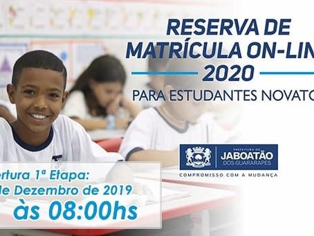 Iniciam matrículas nas escolas municipais do Jaboatão