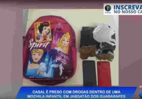 Casal é preso portando drogas dentro de uma mochila infantil em Jaboatão