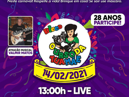 Bloco O Urso da Tua Mãe faz live de Carnaval neste domingo (14)