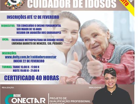 Inscrições abertas para o curso de cuidador de idosos em Jaboatão