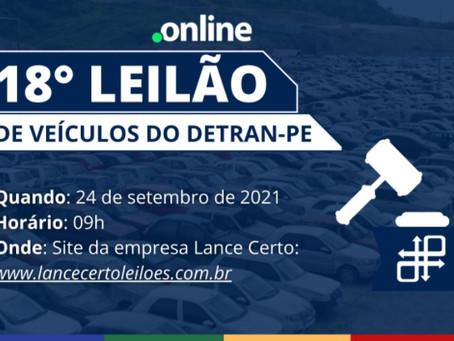 Detran-PE promove leilão com 287 veículos