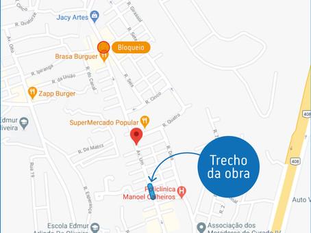 Obra de manutenção em trecho da rede de esgoto no bairro do Curado IV