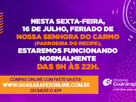 Shopping Guararapes funcionará normalmente no dia 16 de julho