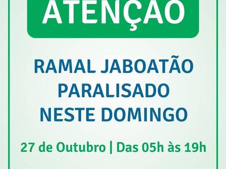 Ramal Jaboatão paralisado neste domingo (27)