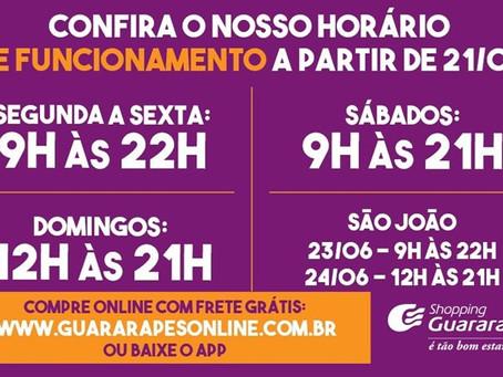 Confira o horário de funcionamento do Guararapes partir do dia 21