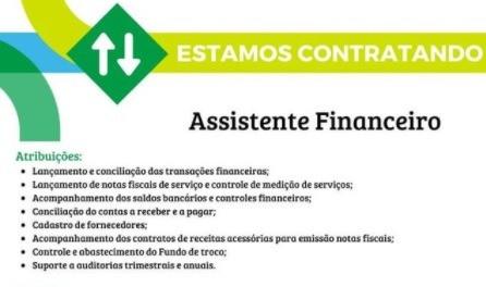 Rota dos Coqueiros abre vaga para Assistente Financeiro