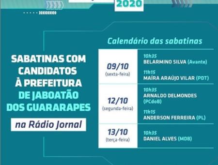 Sabatinas da Rádio Jornal com candidatos à Prefeitura de Jaboatão começam nesta sexta (9)