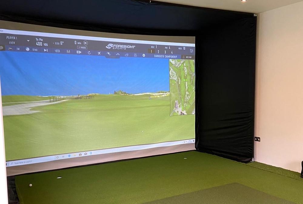 garden room with golf simulator