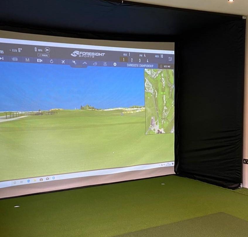 Golf Simulator in Garden Room