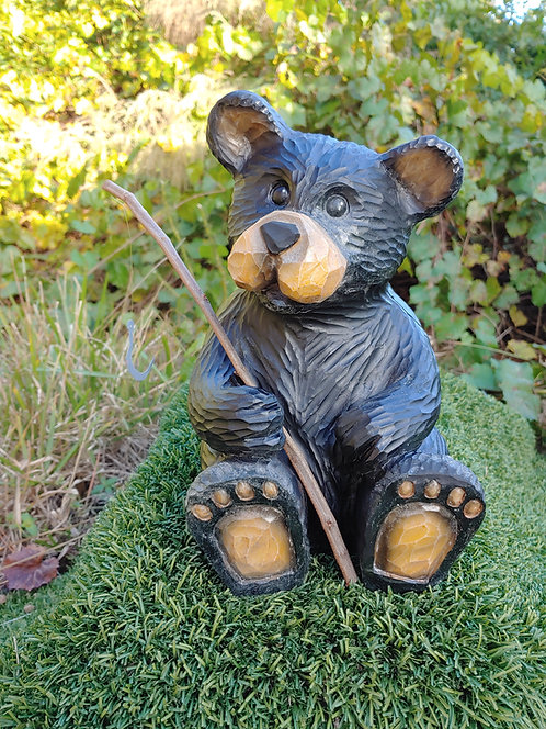 WOOD CARVED FISHING BEAR